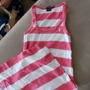 Pin and white tank dress size s